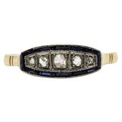 Antique Art Deco 18 Karat Gold and Platinum Diamonds Ring