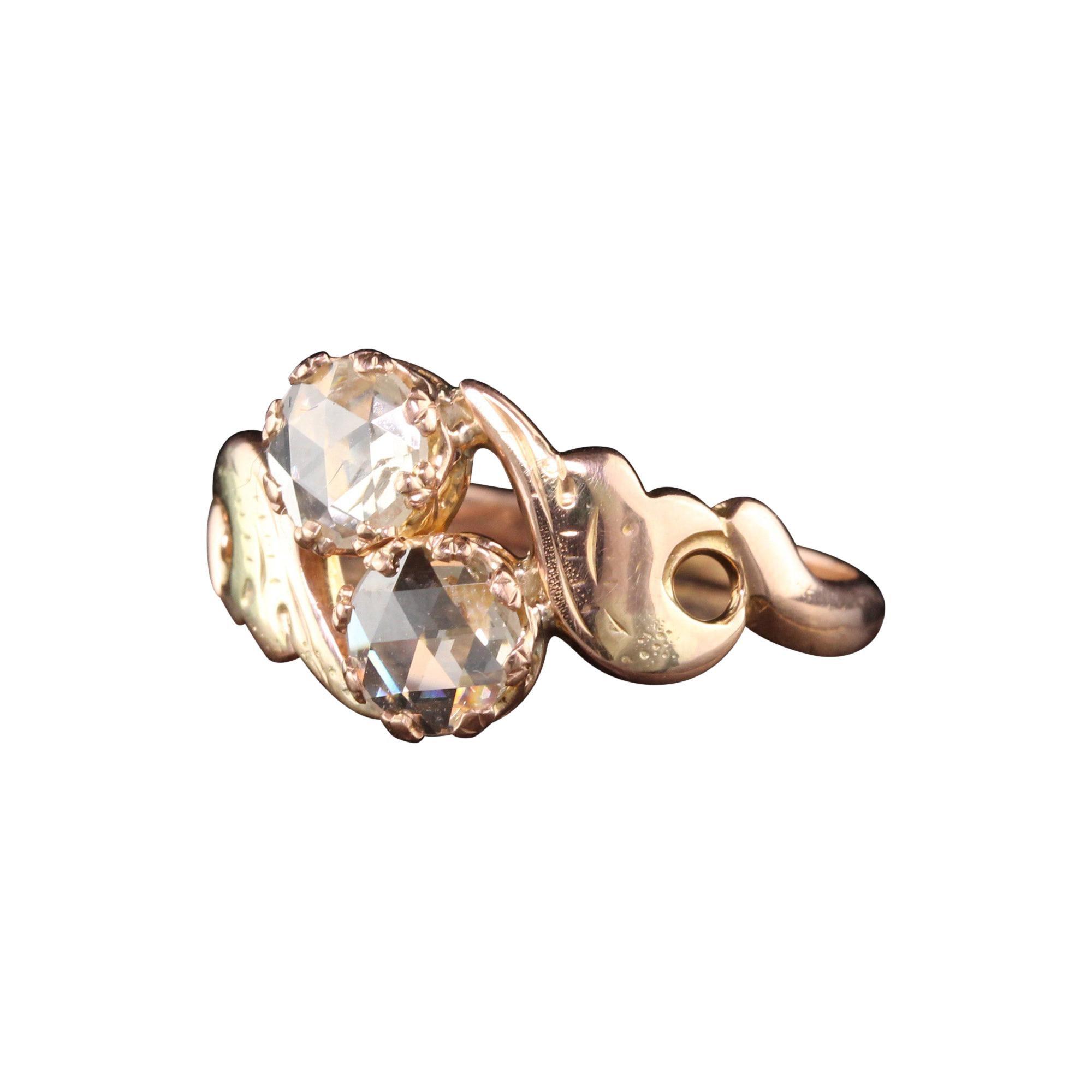 Antique Art Deco 18k Rose Gold Rose Cut Diamond Toi et Moi Ring