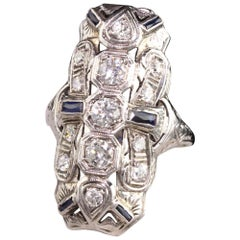 Antique Art Deco 18K White Gold Diamond and Sapphire Shield Ring
