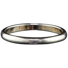 Antique Art Deco 18 Karat White Gold Wedding Band