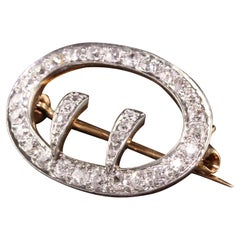 Antique Art Deco 18K Yellow Gold Platinum Old Mine Diamond Buckle Pin