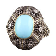 Antique Art Deco 18K Yellow Gold Silver Top Turquoise Cabochon Ring