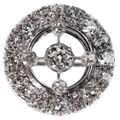 Antique Art Deco 1920 Old European Cut Diamond Circular Brooch in 18 K Gold