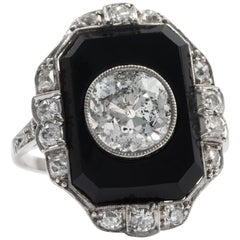 Antique Art Deco 1920s, Certified 3.10 Carat Diamond Onyx Platinum Dinner Ring