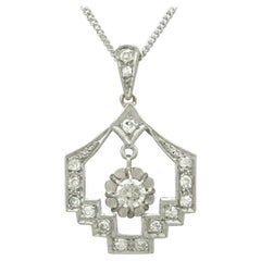Antique Art Deco 1920s Diamond and Platinum Pendant