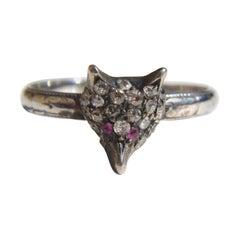 Antique Art Deco 1920s Diamond Ruby Fox 18 Karat White Gold Ring