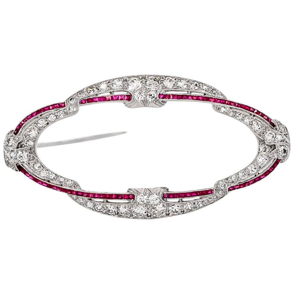 Uhren & Schmuck Nadel Brosche Mit Brillant Diamant Rubin Brillant In Aus Platin Rubinen