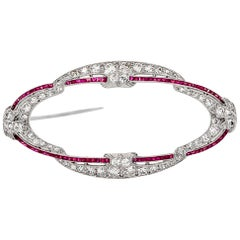 Antique Art Deco 1920s Diamond Ruby Platinum Ellipse Pin Brooch