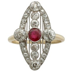 Antique Art Deco 1920s Ruby and 1.88 Carat Diamond Yellow Gold Marquise Ring