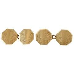 Antique Art Deco 1929 Yellow Gold Cufflinks