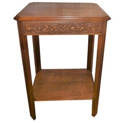Antique Art Deco 1930s Carved French Walnut Bedside Side Sofa Occasional Table