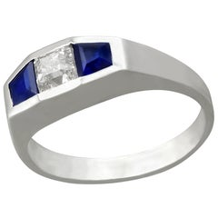 Antique Art Deco 1930s Diamond and Sapphire White Gold Cocktail Ring