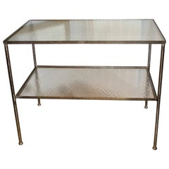 Antique Art Deco 1930s French Continental Metal Structure Glass Console Table