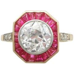 Antique Art Deco 2.10 Carat Diamond and Ruby Yellow Gold Cocktail Ring