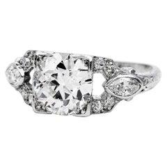 Antique Art Deco 2.10cts European Diamond Platinum Engagement Ring