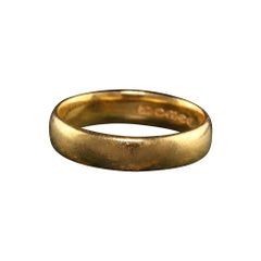Antique Art Deco 22K Yellow Gold English Wedding Band