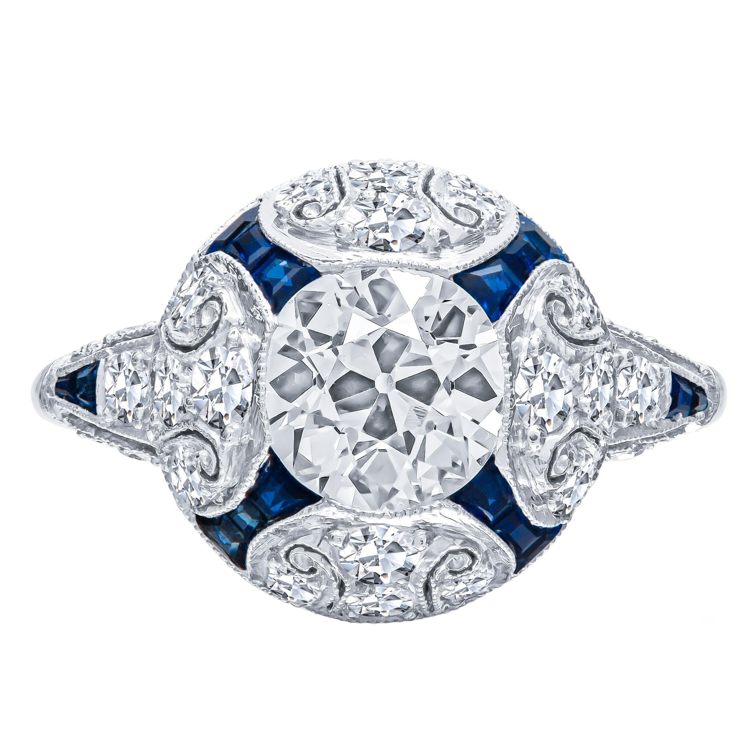 Art Deco Style 2.47 Carat Old European Cut Diamond Platinum Engagement Ring