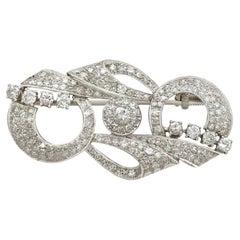 Antique Art Deco 2.76 Carat Diamond and Platinum Brooch, Circa 1935