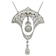 Antique Art Deco 2.86 Carat Diamond and Platinum Necklace, circa 1930
