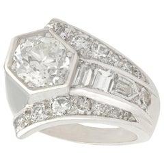Antique Art Deco 3.24 Carat Diamond and Platinum Cocktail Ring