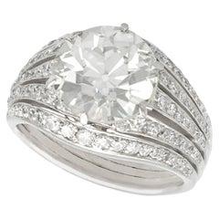 Antique Art Deco 3.98 Carat Diamond and Platinum Cocktail Ring