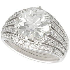 Antique Art Deco 3.98 Carat Diamond and Platinum Dress Ring