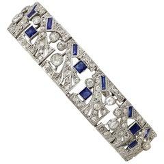 Antique Art Deco 4.81 Carat Sapphire and 8.67 Carat Diamond White Gold Bracelet