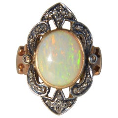 Antique Art Deco 5 Carat Opal Diamond 10 Karat Rose Gold Cocktail Ring