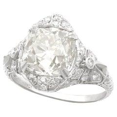 Antique Art Deco 5.39 Carat Diamond and Platinum Cocktail Ring