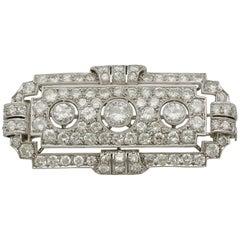 Antique Art Deco 6.82 Carat Diamond and Platinum Brooch