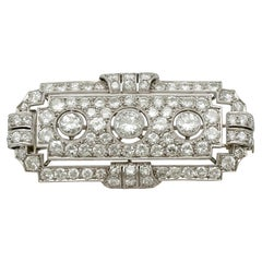Antique Art Deco 6.82 Carat Diamond and Platinum Brooch