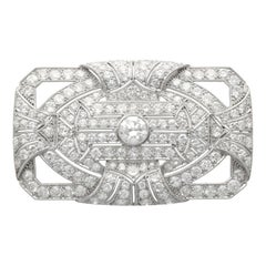 Antique Art Deco 8.13 Carat Diamond and Platinum Brooch