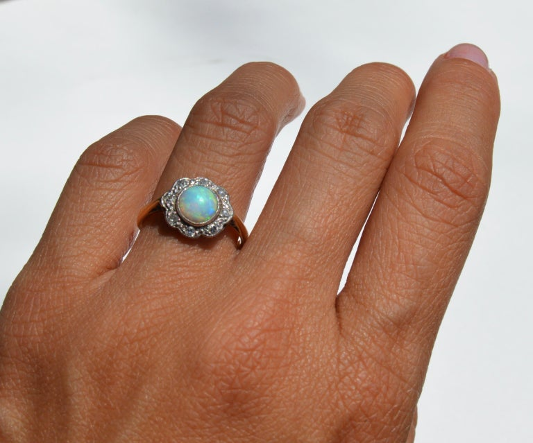 Antique Art Deco .84 Carat Opal Diamond Halo 18 Karat Gold Engagement Ring For Sale 1