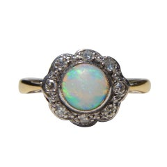 Antique Art Deco .84 Carat Opal Diamond Halo 18 Karat Gold Engagement Ring