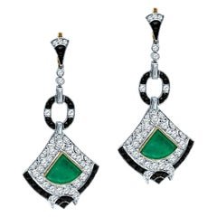 Antique Art Deco 8.58 Carat Diamond Colombian Emerald Platinum Dangle Earrings