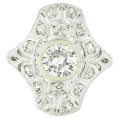 Antique Art Deco .900 Platinum 1.10ct European Diamond Engraved Engagement Ring