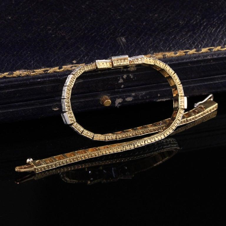Square Cut Antique Art Deco Allsopp and Allsopp 14k Gold Platinum Diamond Sapphire Bracelet For Sale