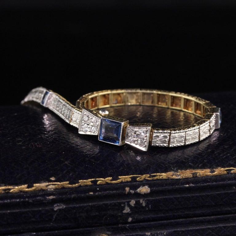 Antique Art Deco Allsopp and Allsopp 14k Gold Platinum Diamond Sapphire Bracelet In Good Condition For Sale In Great Neck, NY