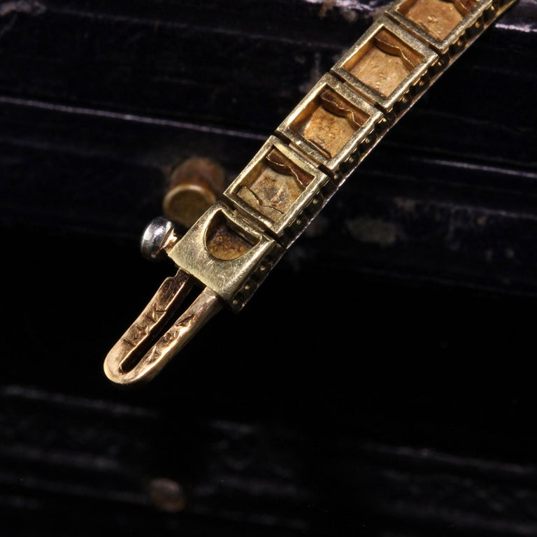 Women's Antique Art Deco Allsopp and Allsopp 14k Gold Platinum Diamond Sapphire Bracelet For Sale
