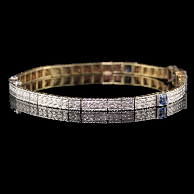 Antique Art Deco Allsopp and Allsopp 14k Gold Platinum Diamond Sapphire Bracelet For Sale 1