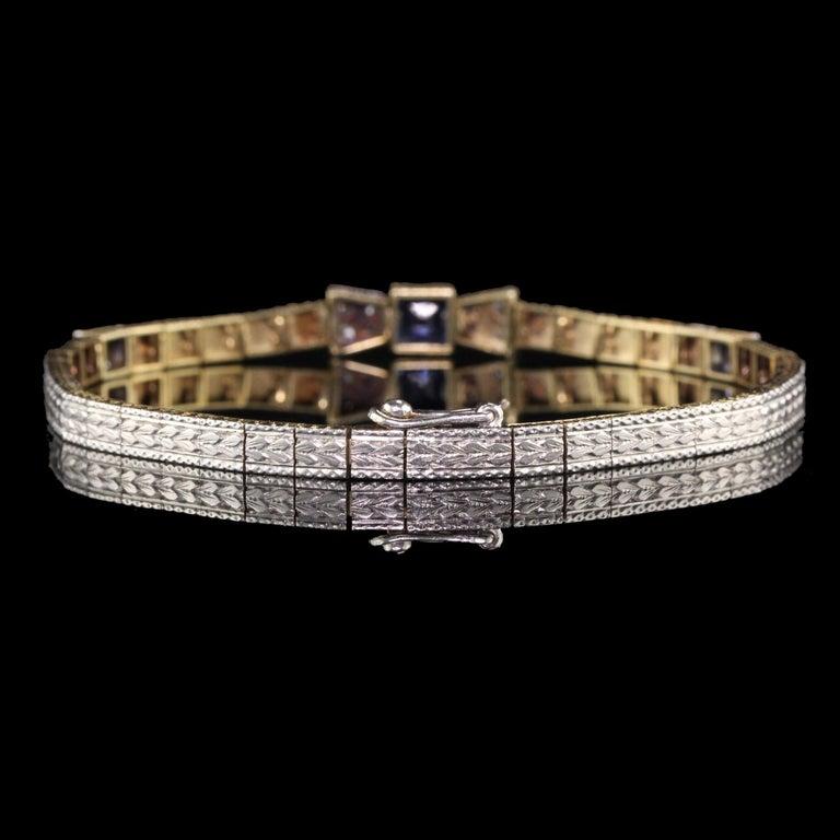 Antique Art Deco Allsopp and Allsopp 14k Gold Platinum Diamond Sapphire Bracelet For Sale 2