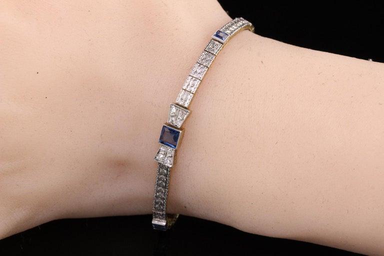 Antique Art Deco Allsopp and Allsopp 14k Gold Platinum Diamond Sapphire Bracelet For Sale 3