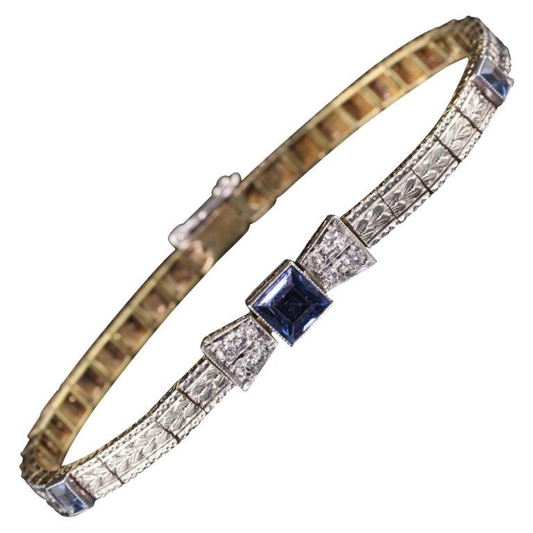Antique Art Deco Allsopp and Allsopp 14k Gold Platinum Diamond Sapphire Bracelet For Sale