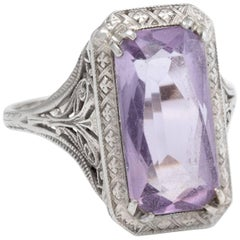 Antique Art Deco Amethyst Filigree Ring