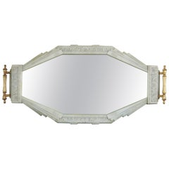 Antique Art Deco Bakelite Mirrored Vanity Tray Wall Hanging Glass Mirror