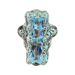 Antique Art Deco Belais Aquamarine Filigree 14 Karat White Gold Ring
