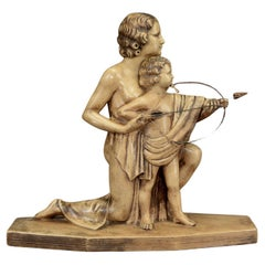 Antique Art Deco Bisque Sculpture of Mother and Child with Bow and Arrow
