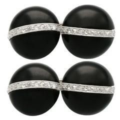 Antique Art Deco Black Onyx and Diamond White Gold Cufflinks, Circa 1920