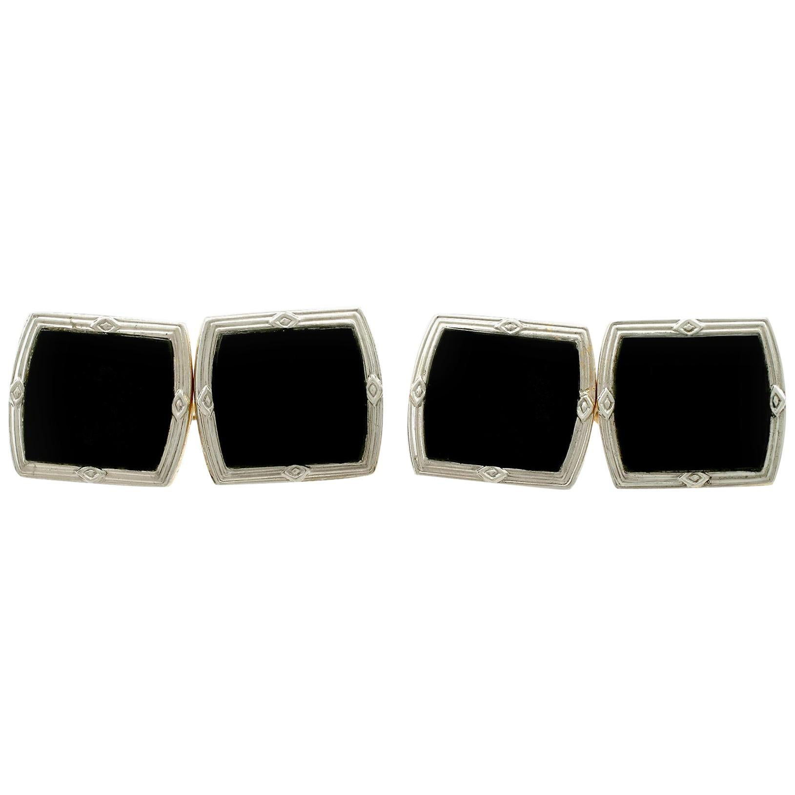 Antique Art Deco Black Onyx and Yellow Gold Platinum Set Cufflinks