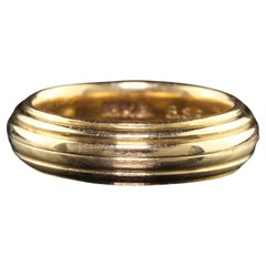 Antique Art Deco Black Starr and Frost 18K Yellow Gold Wide Wedding Band
